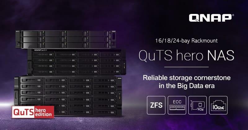 A QNAP bemutatta a 16-, 18-, és 24-lemezes rackmount QuTS hero NAS rendszereket