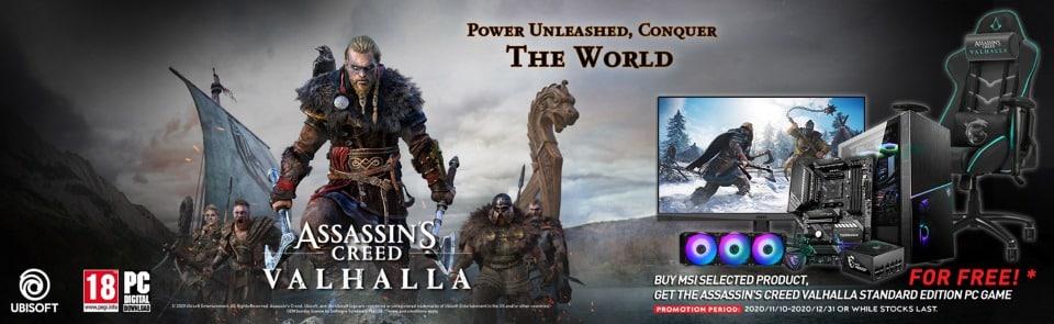 Az MSI és a(z) UBISOFT leleplezte közös Assassin's Creed Valhalla promócióját