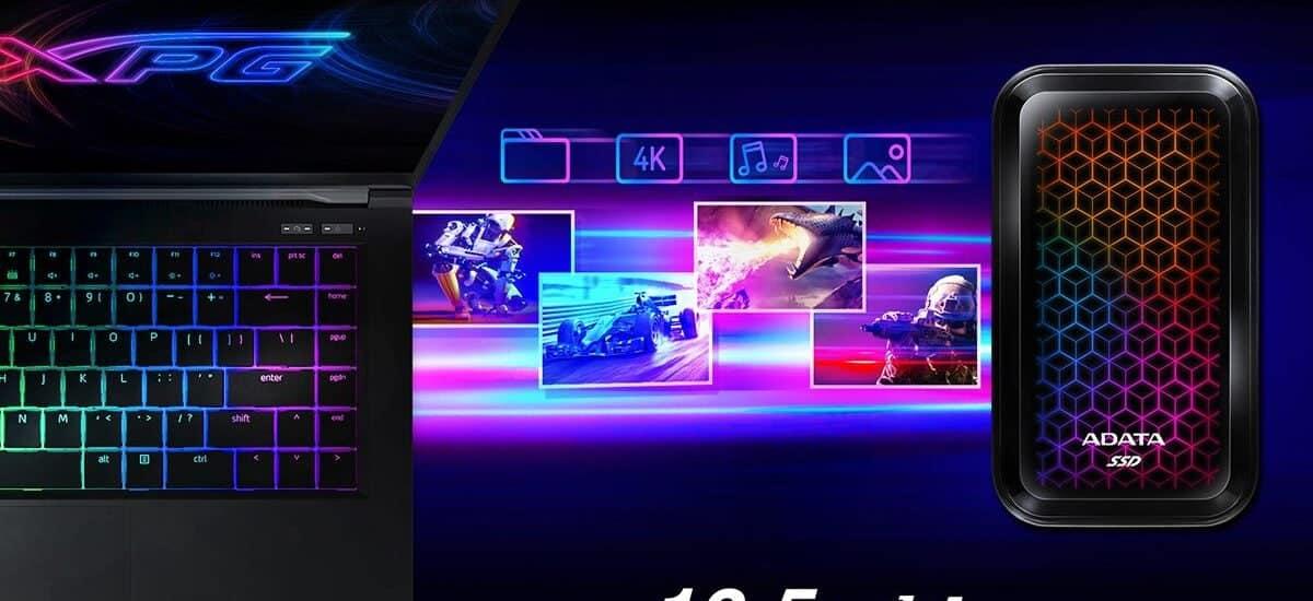 Az ADATA bemutatta az SE770G, RGB világítással rendelkező külső SSD meghajtót