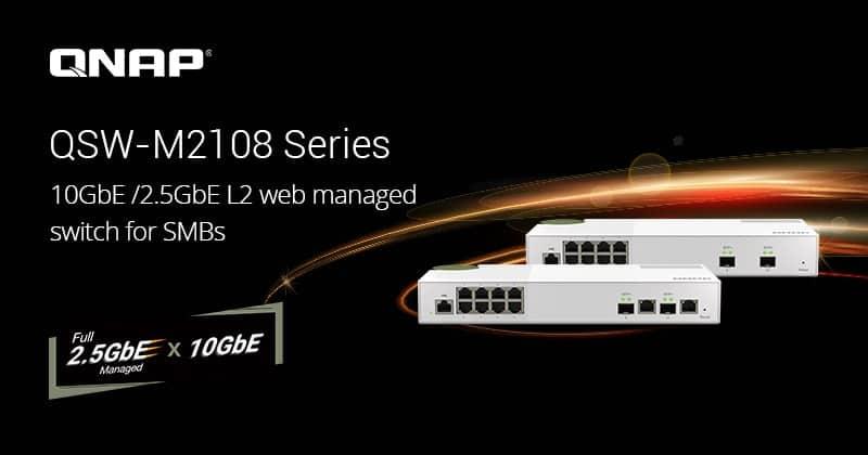 A QNAP bemutatja a QSW-M2108 2,5 GbE és 10 GbE L2 Weben keresztül menedzselhető switch sorozatot