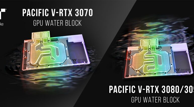 A Thermaltake Pacific V-RTX 3070 és 3080/3090 GPU hűtőblokkok már megvásárolhatók