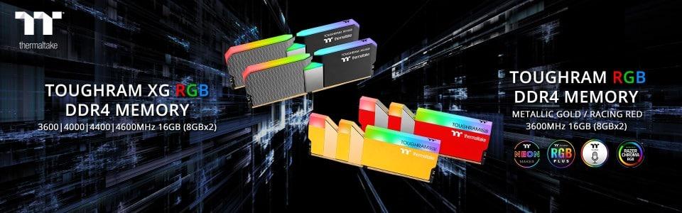 Megjelent a Thermaltake TOUGHRAM XG RGB memóriakészlet, valamint új színekben kapható a TOUGHRAM RGB RAM kit