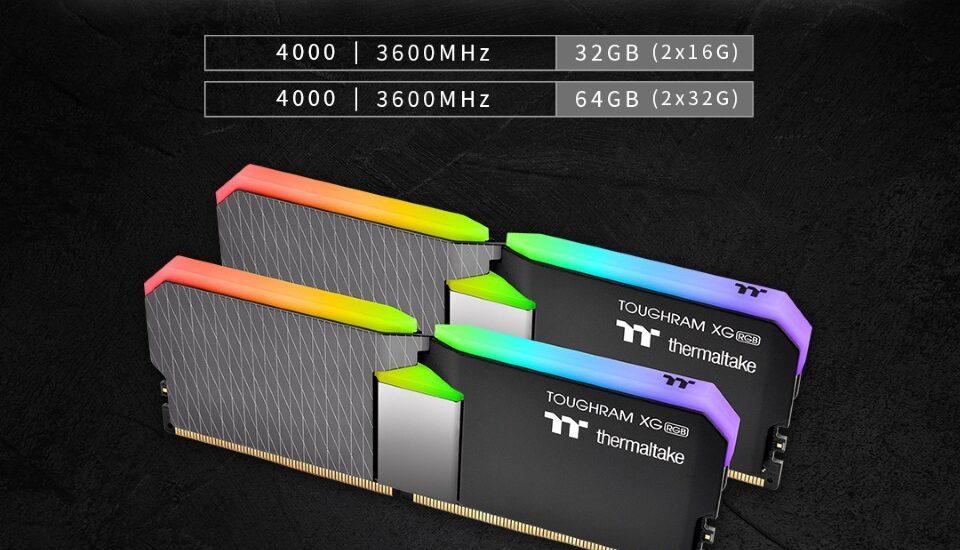 A Thermaltake bejelentette a nagyobb kapacitású TOUGHRAM XG RGB 4000/3600 MHz-es memóriamodulok megjelenését