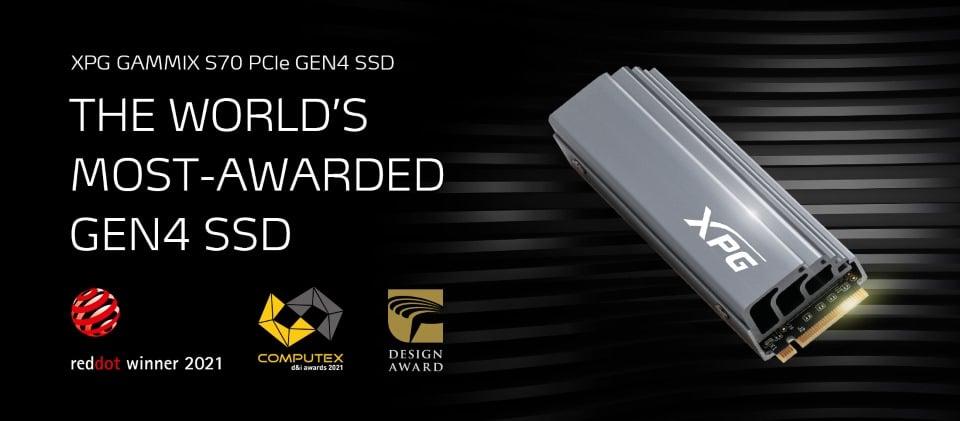 2021 COMPUTEX d&i kitüntetést nyert az XPG GAMMIX S70 SSD