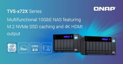 A QNAP bemutatta a multifunkciós, 4K HDMI és M.2 NVMe SSD támogatással rendelkező TVS-x72X 10 GbE NAS-t
