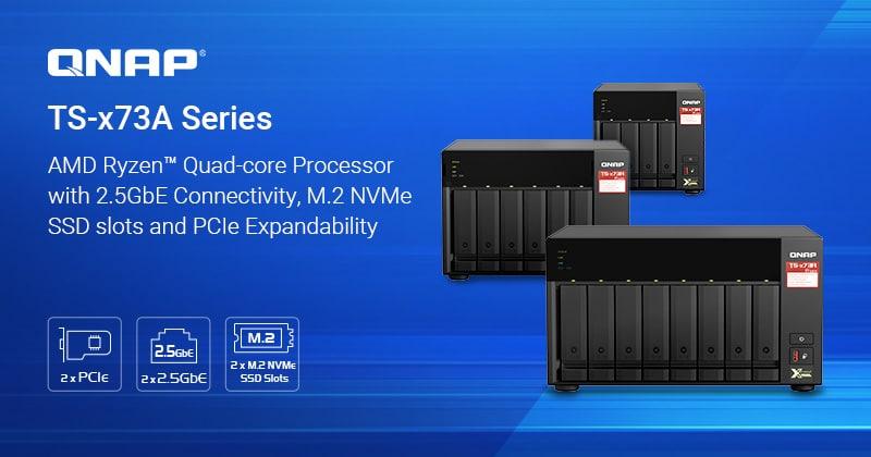 A QNAP bemutatta az AMD Ryzen™ négymagos CPU-val felszerelt TS-x73A sorozatú NAS-t